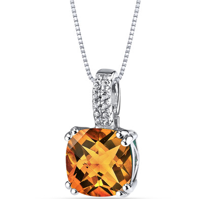 14K White Gold Citrine Pendant Cushion Checkerboard Cut 2.75 Carats