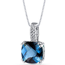 14K White Gold London Blue Topaz Pendant Cushion Checkerboard Cut 3.50 Carats