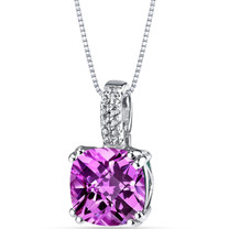 14K White Gold Created Pink Sapphire Pendant Cushion Checkerboard Cut 4.25 Carats