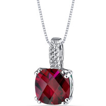 14K White Gold Created Ruby Pendant Cushion Checkerboard Cut 4.00 Carats