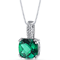 14K White Gold Created Emerald Pendant Cushion Checkerboard Cut 2.50 Carats