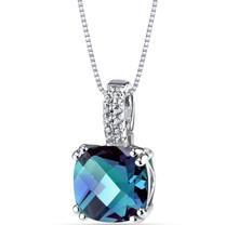 14K White Gold Created Alexandrite Pendant Cushion Checkerboard Cut 3.50 Carats