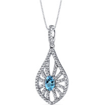14K White Gold Swiss Blue Topaz Chandelier Pendant 0.50 Carats