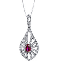 14K White Gold Created Ruby Chandelier Pendant 0.50 Carats