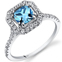 14K White Gold Swiss Blue Topaz Cushion Cut Halo Ring  1.00 Carats