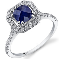 14K White Gold Created Sapphire Cushion Cut Halo Ring  1.00 Carats