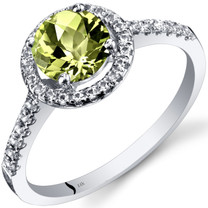 14K White Gold Peridot Halo Ring Round Checkerboard Cut 1.00 Carats