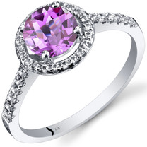 14K White Gold Created Pink Sapphire Halo Ring Round Checkerboard Cut 1.50 Carats