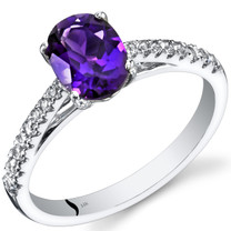 14K White Gold Amethyst Ring Oval Cut 1.00 Carats