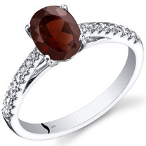 14K White Gold Garnet Ring Oval Cut 1.50 Carats