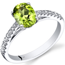 14K White Gold Peridot Ring Oval Cut 1.25 Carats