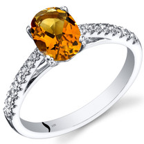 14K White Gold Citrine Ring Oval Cut 1.00 Carats