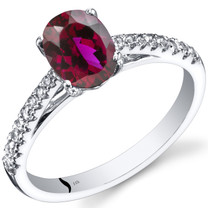 14K White Gold Created Ruby Ring Oval Cut 1.50 Carats
