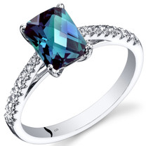 14K White Gold Created Alexandrite Ring Radiant Cut 1.50 Carats