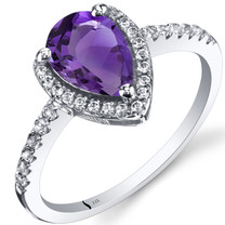 14K White Gold Amethyst Open Halo Ring Pear Shape 1.00 Carats
