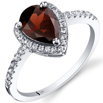 14K White Gold Garnet Open Halo Ring Pear Shape 1.50 Carats