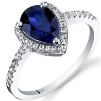 14K White Gold Created Sapphire Open Halo Ring Pear Shape 1.50 Carats