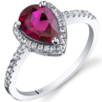 14K White Gold Created Ruby Open Halo Ring Pear Shape 1.50 Carats