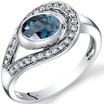 14K White Gold London Blue Topaz Diamond Infinity Ring  1.22 Carats Total