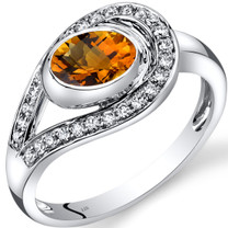 14K White Gold Citrine Diamond Infinity Ring 0.97 Carats Total