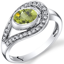 14K White Gold Peridot Diamond Infinity Ring  0.97 Carats Total