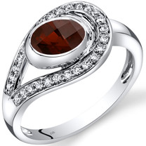 14K White Gold Garnet Diamond Infinity Ring  1.22 Carats Total
