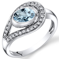 14K White Gold Aquamarine Diamond Infinity Ring  0.97 Carats Total