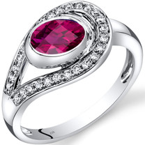14K White Gold Created Ruby Diamond Infinity Ring  1.22 Carats Total