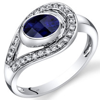 14K White Gold Created Blue Sapphire Diamond Infinity Ring  1.22 Carats Total
