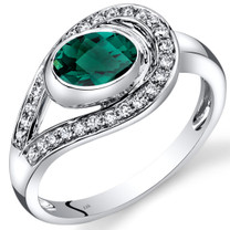 14K White Gold Created Emerald Diamond Infinity Ring  0.97 Carats Total