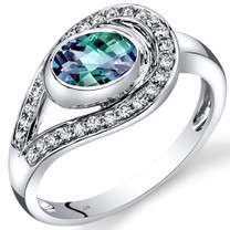 14K White Gold Created Alexandrite Diamond Infinity Ring  1.22 Carats Total
