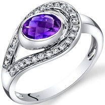 14K White Gold Amethyst Diamond Infinity Ring  0.75 Carats Total