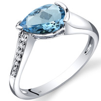 14K White Gold Swiss Blue Topaz Diamond Tear Drop Ring 1.54 Carats Total