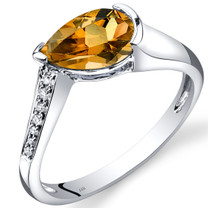 14K White Gold Citrine Diamond Tear Drop Ring 1.04 Carats Total