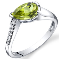14K White Gold Peridot Diamond Tear Drop Ring 1.29 Carats Total