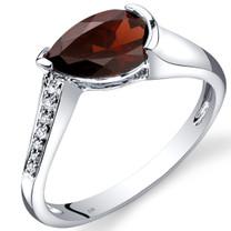 14K White Gold Garnet Diamond Tear Drop Ring 1.54 Carats Total