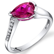 14K White Gold Created Ruby Diamond Tear Drop Ring 1.54 Carats Total