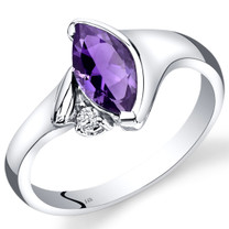 14K White Gold Amethyst Diamond Ring Marquise Bezel Set 1.03 Carats Total