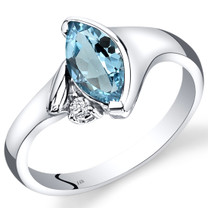 14K White Gold Swiss Blue Topaz Diamond Ring Marquise Bezel Set 1.03 Carats Total