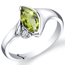 14K White Gold Peridot Diamond Ring Marquise Bezel Set 1.03 Carats Total