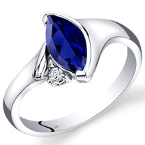 14K White Gold Created Blue Sapphire Diamond Ring Marquise Bezel Set 1.28 Carats Total