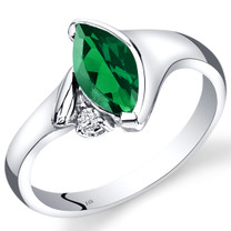 14K White Gold Created Emerald Diamond Ring Marquise Bezel Set 1.03 Carats Total