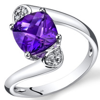 14K White Gold Amethyst Diamond Bypass Ring Cushion Cut 2.08 Carats Total