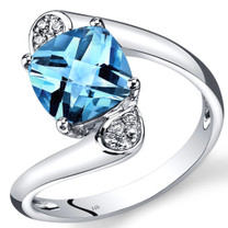 14K White Gold Swiss Blue Topaz Diamond Bypass Ring Cushion Cut 2.33 Carats Total