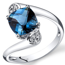 14K White Gold London Blue Topaz Diamond Bypass Ring Cushion Cut 2.33 Carats Total