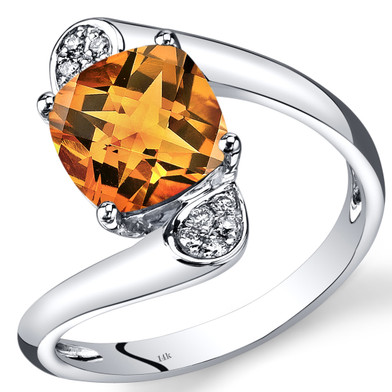 14K White Gold Citrine Diamond Bypass Ring Cushion Cut 1.83 Carats Total
