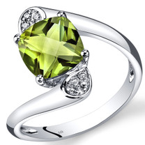 14K White Gold Peridot Diamond Bypass Ring Cushion Cut 2.33 Carats Total