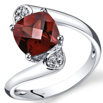 14K White Gold Garnet Diamond Bypass Ring Cushion Cut 3.08 Carats Total