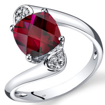 14K White Gold Created Ruby Diamond Bypass Ring Cushion Cut 2.83 Carats Total
