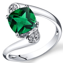 14K White Gold Created Emerald Diamond Bypass Ring Cushion Cut 2.08 Carats Total